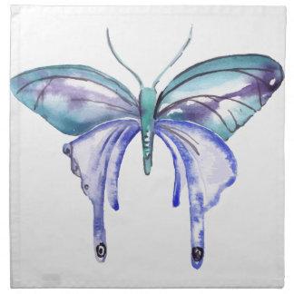 watercolor aqua blue purple butterfly napkin