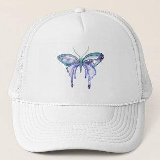 watercolor aqua blue purple butterfly trucker hat