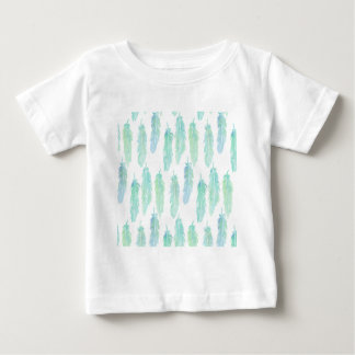 Watercolor Aqua Feather Pattern Baby T-Shirt