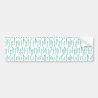 Watercolor Aqua Feather Pattern Bumper Sticker