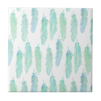 Watercolor Aqua Feather Pattern Ceramic Tile