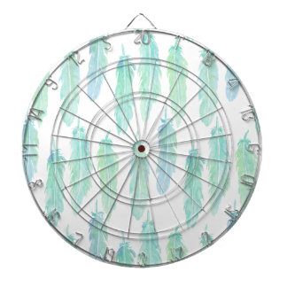 Watercolor Aqua Feather Pattern Dartboard