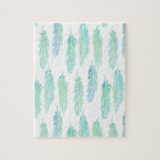 Watercolor Aqua Feather Pattern Jigsaw Puzzle