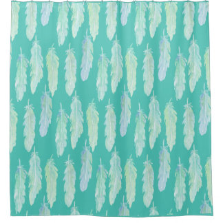 Watercolor Aqua Feathers Shower Curtain