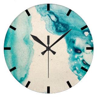 Watercolor Aquarelle Indigo Navy Blue Creamy Kraft Large Clock