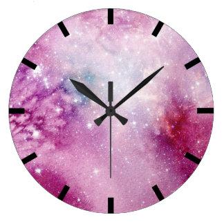 Watercolor Aquarelle Pink Rose Stars Galaxy Ocean Large Clock