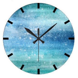 Watercolor Aquarelle Turquoise Aqua Galaxy Ocean Large Clock