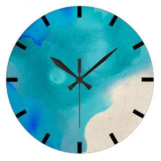 Watercolor Aquarelle Turquoise  Blue Creamy Ocean Large Clock
