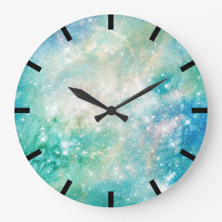Watercolor Aquarelle Turquoise Blue Galaxy Ocean Large Clock