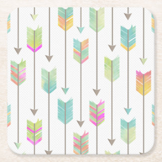 Watercolor Arrows Pattern Square Paper Coaster