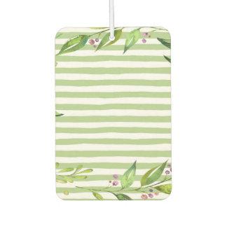 Watercolor Art Bold Green Stripes Floral Design