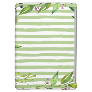 Watercolor Art Bold Green Stripes Floral Design