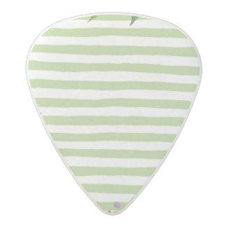Watercolor Art Bold Green Stripes Floral Design Acetal Guitar Pick