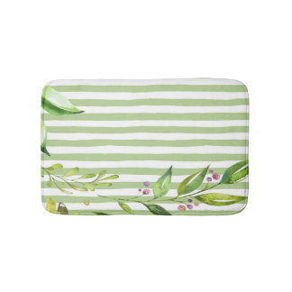 Watercolor Art Bold Green Stripes Floral Design Bath Mat