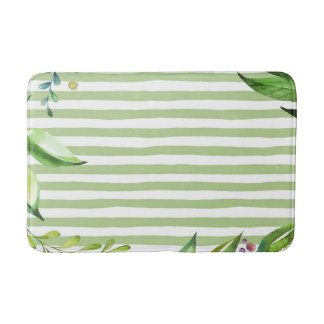 Watercolor Art Bold Green Stripes Floral Design Bath Mats