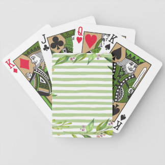 Watercolor Art Bold Green Stripes Floral Design Bicycle Playing Cards