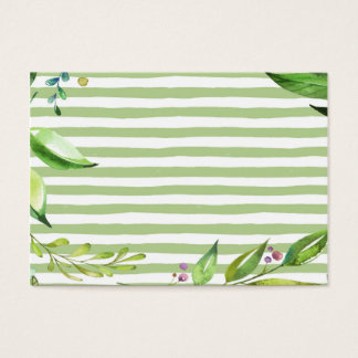 Watercolor Art Bold Green Stripes Floral Design Business Card