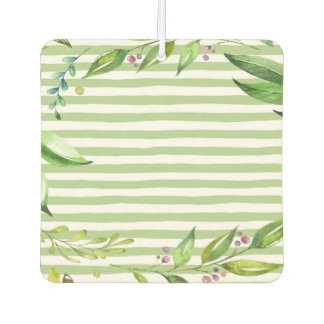Watercolor Art Bold Green Stripes Floral Design Car Air Freshener