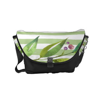 Watercolor Art Bold Green Stripes Floral Design Commuter Bags