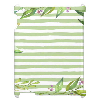 Watercolor Art Bold Green Stripes Floral Design Cover For The iPad 2 3 4