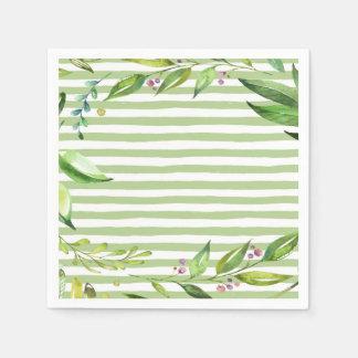 Watercolor Art Bold Green Stripes Floral Design Disposable Napkins