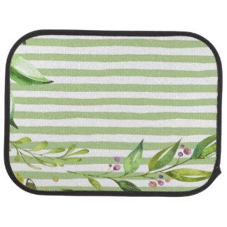 Watercolor Art Bold Green Stripes Floral Design Floor Mat