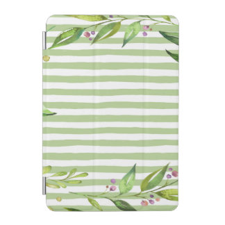 Watercolor Art Bold Green Stripes Floral Design iPad Mini Cover