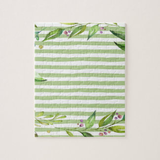 Watercolor Art Bold Green Stripes Floral Design Jigsaw Puzzle