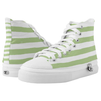 Watercolor Art Bold Green Stripes Floral Design Printed Shoes
