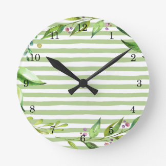 Watercolor Art Bold Green Stripes Floral Design Round Clock