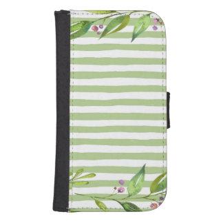 Watercolor Art Bold Green Stripes Floral Design Samsung S4 Wallet Case