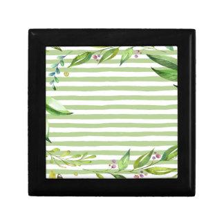 Watercolor Art Bold Green Stripes Floral Design Small Square Gift Box
