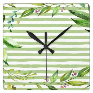 Watercolor Art Bold Green Stripes Floral Design Wall Clock