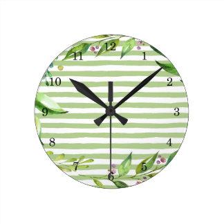Watercolor Art Bold Green Stripes Floral Design Wall Clocks