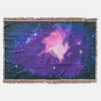 Watercolor Art, Nebula Stars Galaxy Universe Space Throw Blanket