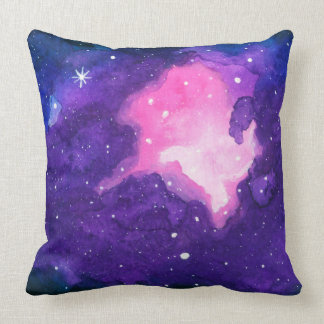 Watercolor Art, Nebula Stars Galaxy Universe Space Throw Pillow