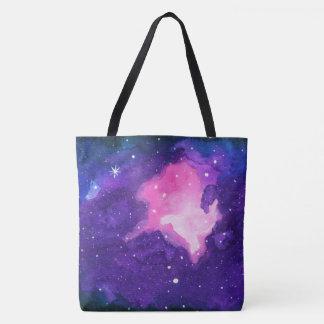 Watercolor Art, Nebula Stars Galaxy Universe Space Tote Bag