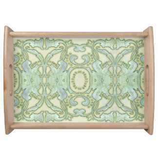 Watercolor Art Nouveau Leaf Swirl Pattern Blue Serving Tray