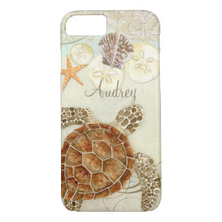 Watercolor Art Sea Turtle Coastal Beach Sea Shells iPhone 8/7 Case