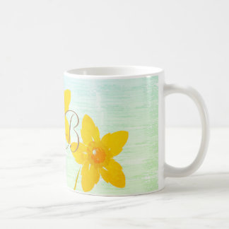 Watercolor Art Yellow Daffodils Add Initials Mug