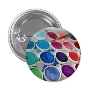 Watercolor Artist Paint Palette Round Button