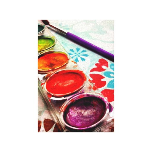 Watercolor Artist Paint Tray and Brush on Flowers Gallery Wrap Canvas