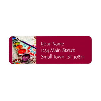 Watercolor Artist Paint Tray and Brush on Flowers Return Address Label