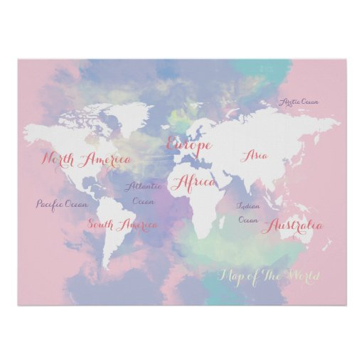 watercolor atlas . map of the world geographic poster