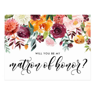 Watercolor Autumn Blooms Be My Matron of Honor Postcard
