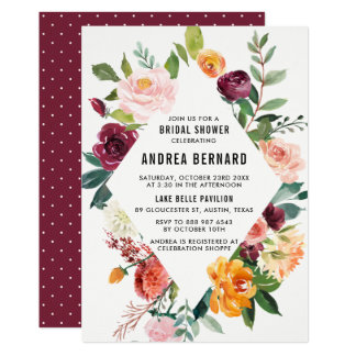 Watercolor Autumn Blooms Floral Bridal Shower Card