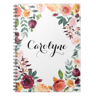 Watercolor Autumn Blooms Floral Frame Spiral Note Book
