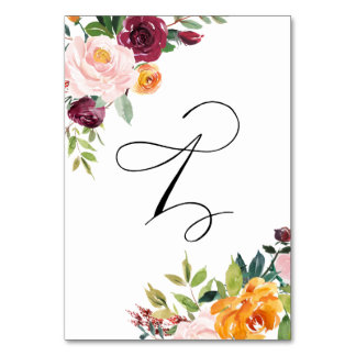 Watercolor Autumn Blooms Floral Table Number 1 Table Cards