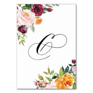 Watercolor Autumn Blooms Floral Table Number 6 Table Cards