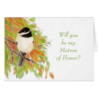 Watercolor Autumn Chickadee Matron of Honor Invite